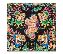 Halstuch aus Seide mit Tiger- und Kingsnake-Print