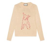 Pullover aus Baumwollstrick mit Lamm-Motiv