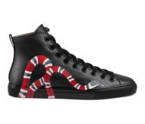 Hoher Sneaker aus Leder mit Schlange