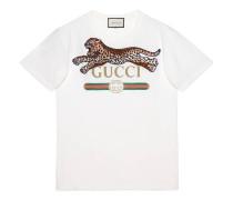 Übergroßer T-Shirt mit Gucci Logo und Leopard