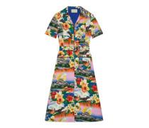 Kleid aus Leinen mit Hawaii-Print