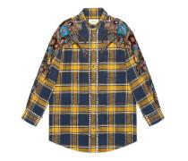 Übergroßes Hemd mit Schottenkaro und Stickerei