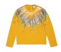 Pullover aus Wolle mit Leder-Applikationen