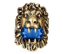 Löwenkopfring mit blauem Kristall