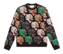 Pullover aus Wolle mit Panthergesicht