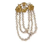 Perlenbesetzte Brosche mit Blumen-Details