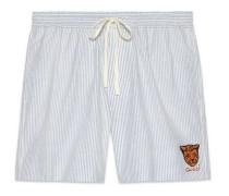Shorts aus Oxford mit Streifen und Tiger