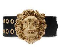 Gürtel aus Leder mit Löwenkopf-Schnalle