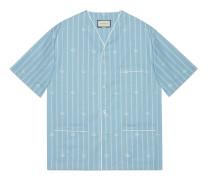Übergroßes Hemd aus gestreifter Baumwolle mit Doppel G