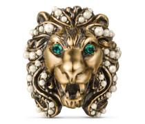 Ring mit Löwenkopf mit Kristallen