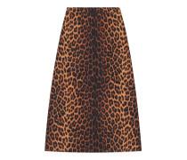 Bleistiftrock aus Wolle mit Leoparden-Print