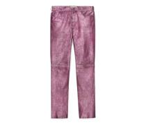 Knöchellange Hose aus Metallic-Leder