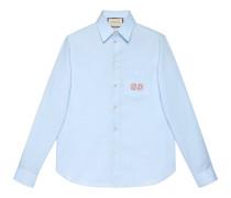 Hemd aus Oxford-Baumwolle mit GG Stickerei