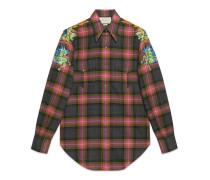 Hemd aus karierter Wolle mit Stickerei