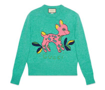 Pullover aus Wolle mit Rehkitz