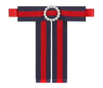 Verzierte Grosgrain-Halsschleife mit Webstreifen