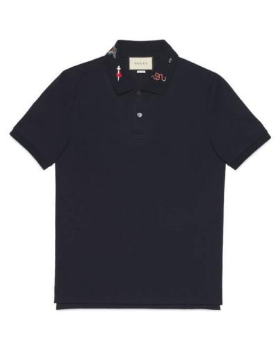Poloshirt aus Baumwolle mit Stickerei