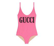 Glänzender Badeanzug mit GucciPrint