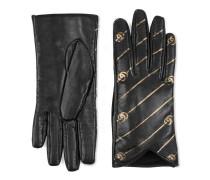 Handschuhe aus Leder mit Doppel G Streifen-Print