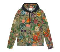 Pullover aus Baumwolle mit Flora Snake-Print