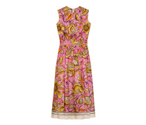 Kleid aus Seide mit Wasserfarben-Blumen
