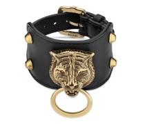 Armband aus Leder mit Felinekopf
