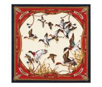 Seidentuch mit fliegenden Enten und Gürteln