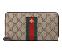 Brieftasche aus GG Supreme mit Rundumreißverschluss und Webstreifen