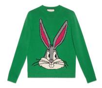 Pullover aus Wollstrick mit Bugs Bunny-Motiv