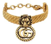 Löwenkopf-Armband mit Doppel G
