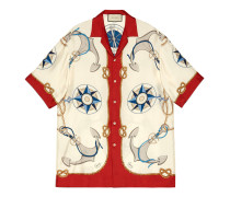 Übergroßes Bowling-Shirt mit nautischem Print
