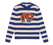Pullover aus gestreifter Wolle mit Tigerkopf