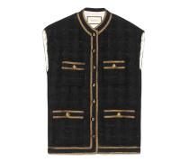 Ärmellose Weste aus Tweed mit Bandbesatz