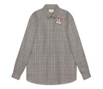 Übergroßes Hemd aus Wolle mit Patch