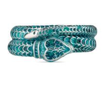Gucci Garden Schlangen-Silberring mit Email
