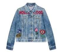 Jacke aus verfärbtem Denim mit Stickerei