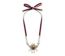 Bienen-Halskette mit Kristallen und Perlen