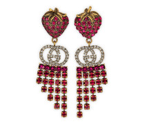 Erdbeer-Ohrringe mit Kristallen