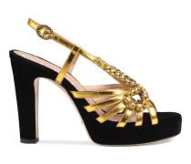 Sandale aus Samt und Leder mit Kristallen