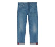 Blaue, abgeschrägte Jeans mit Webstreifen