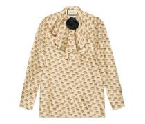 Hemd aus Seide mit Gucci Stamp-Druck