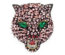 Katzenkopf-Brosche mit Kristallen