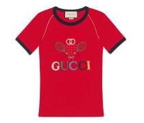 Geripptes T-Shirt mit Gucci Tennis-Stickerei