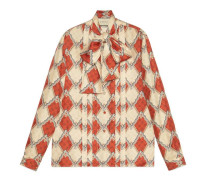 Hemd aus Seide mit Schlangen-Rhomben-Print