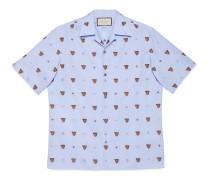 Hemd aus FilCoupé mit Tigerkopf und Symbolen
