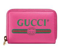 Kartenetui aus Leder mit Gucci Print