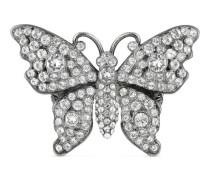 Schmetterling-Ring aus Metall mit Kristallen