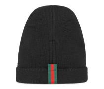 Mütze aus Wolle mit Webstreifen