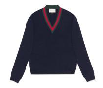 Pullover aus Wolle mit V-Ausschnitt mit Webdetail