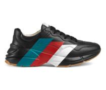 Rhyton Sneaker aus Leder mit Web-Print